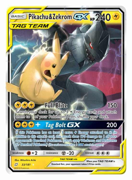 Pikachu and Zekrom Tag Team GX Card