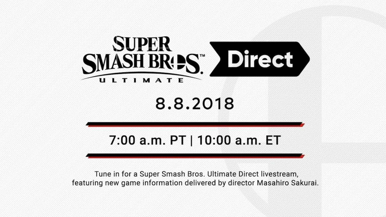 Super Smash Bros. Ultimate Direct Scheduled For This