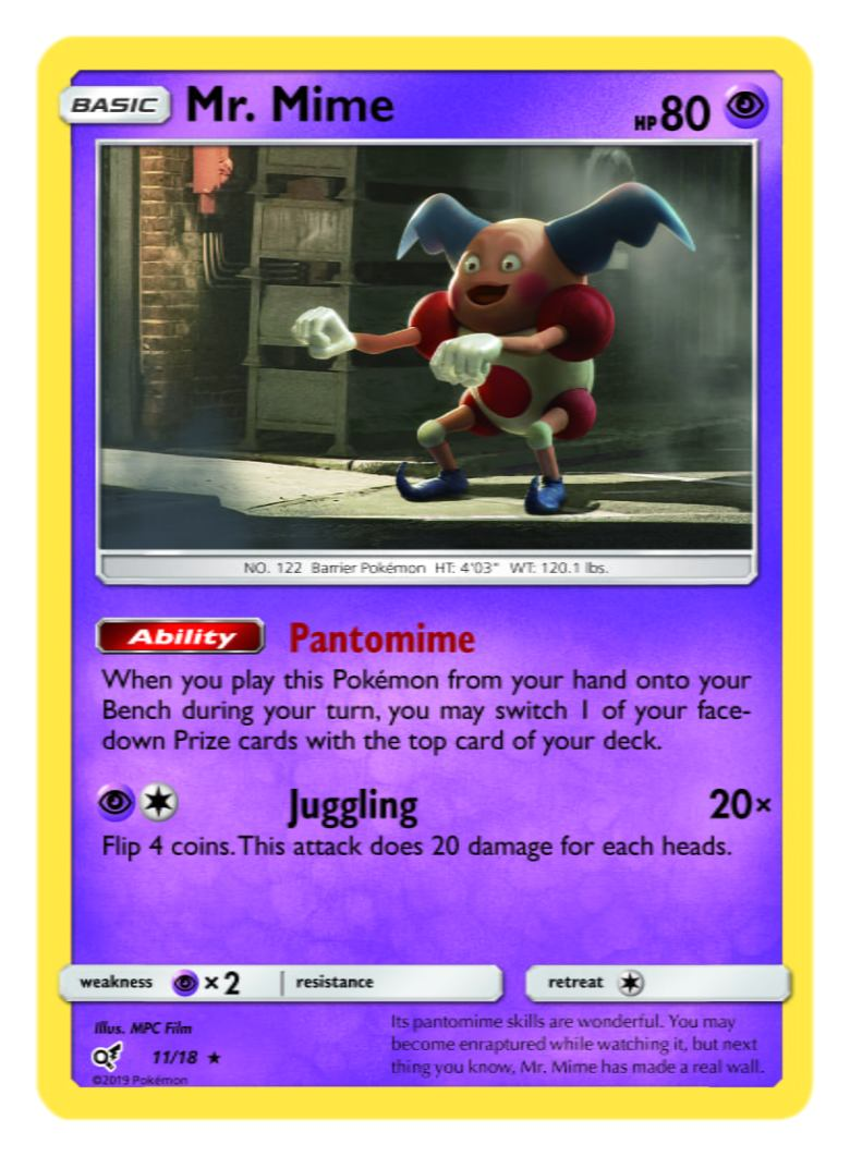 Mr. Mime Card Pokémon TCG Detective Pikachu