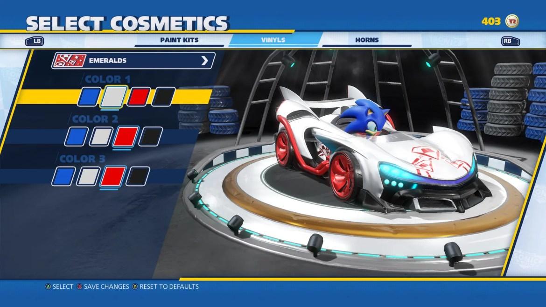 Team Sonic Racing Customization Screenshot 1