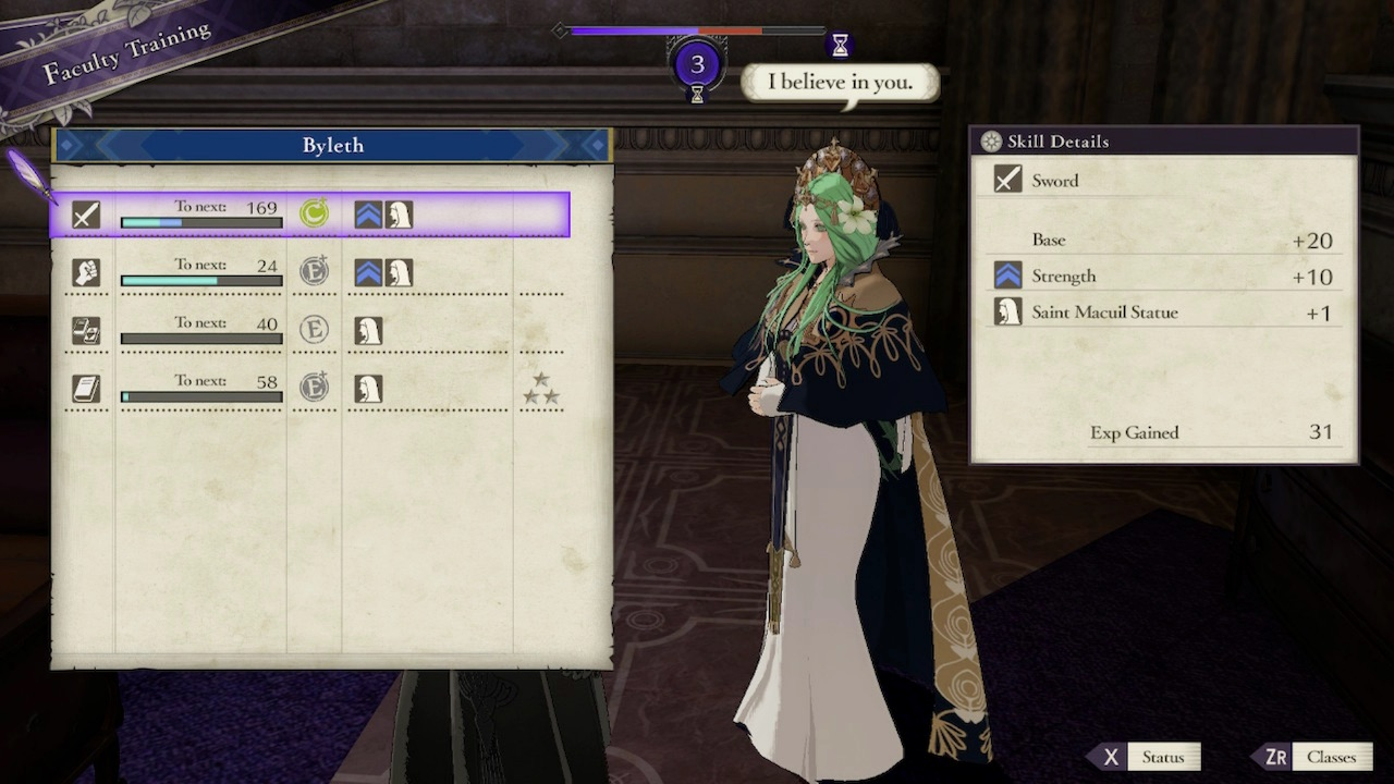 Fire Emblem: Three Houses Faculty Training Screenshot