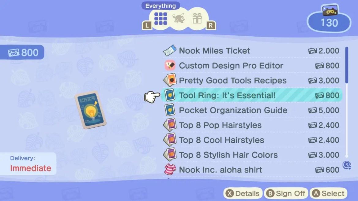 Animal Crossing: New Horizons Tool Ring: It's Essential! Screenshot