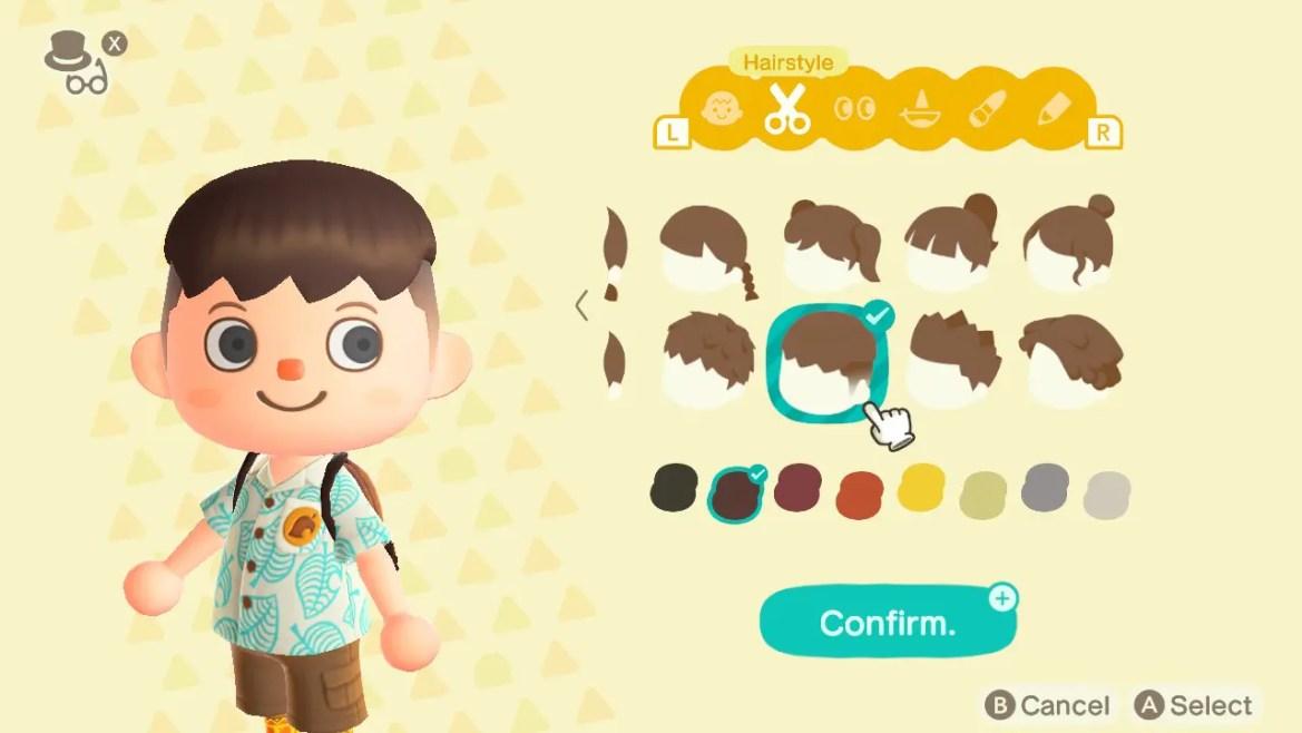 Animal Crossing: New Horizons Top 8 Pop Hairstyles Screenshot