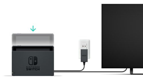 small resolution of a nintendo switch console being inserted a nintendo switch dock that is plugged into a wall