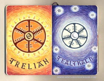 Grelian and Gealgkach: Colored pencils, Nexus Pens, and metalic silver paint - 2005.