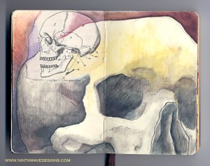 Skull: Pencil, watercolor pencils, and collage - 2006.