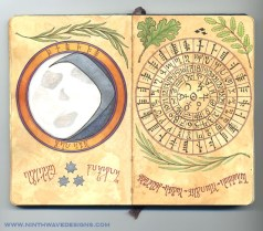 Willow Moon and Cipher Wheel: Watercolor pencils, Nexus pens, and silver metallic acrylic paint, 2007.
