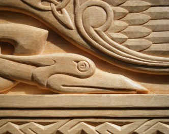 Detail of Celtic Birds carving.