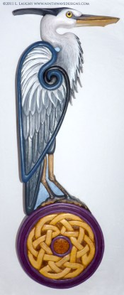 Great Blue Heron carving in basswood with painted finish.