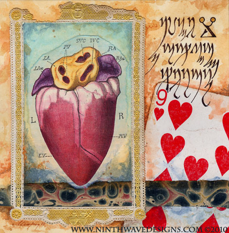 "Nine of My Heart: Collage, colored pencils, and acrylic inks on paper, 5"" x 5"", completed in 2010."