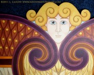 Seraphim Icon: Detail of the face and upper wings.
