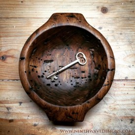 Interior of the Bowl of Remembering: Hand carved from wormy butternut.