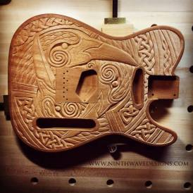 Triple Raven Telecaster-style guitar body, hand carved in Honduran mahogany.
