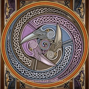 The original Triple Raven design is around 4 inches in diameter and was created as a painting on paper using watercolor inks.