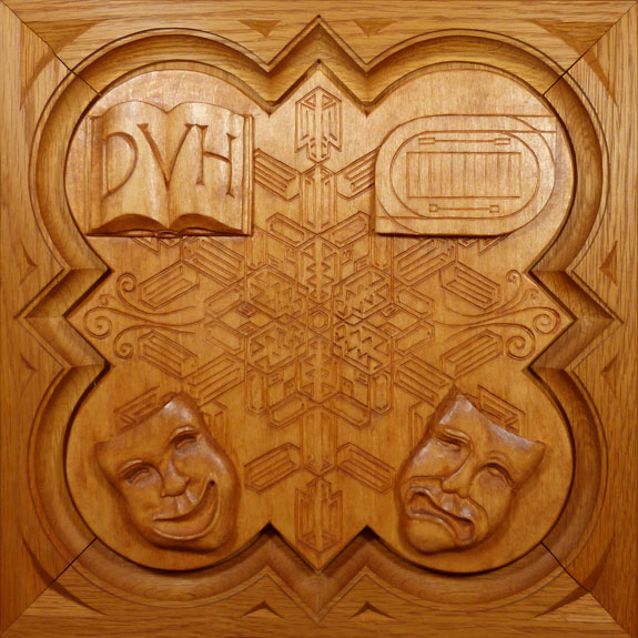 "SPS Form of 1993 Plaque, 11.25"" x 11.25"", stained basswood."