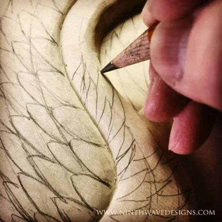 Drawing in the feather details