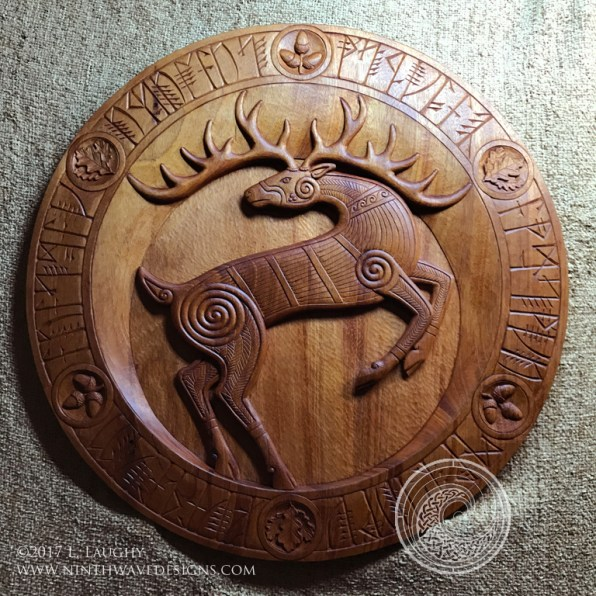 Sciath Fia Bairr / Stag Shield - hand carved in mahogany wood with oil and wax finish.