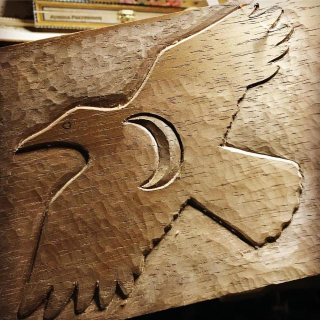Friend crow sister moon  carving in process in Spanishhellip