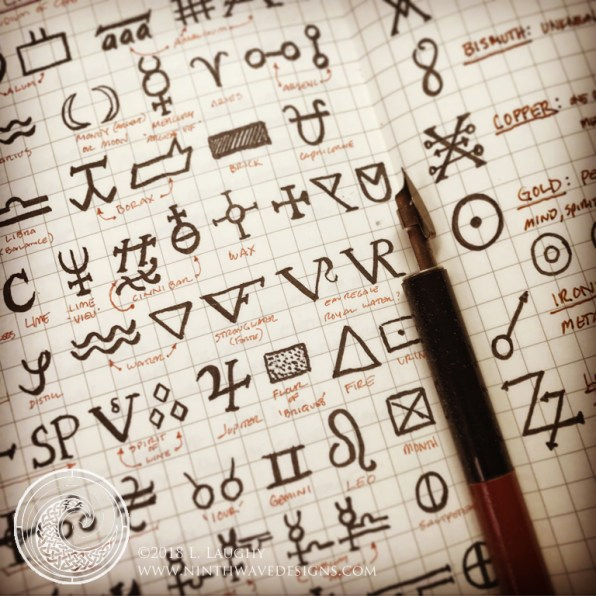 Alchemical symbols gathered in my notebook.