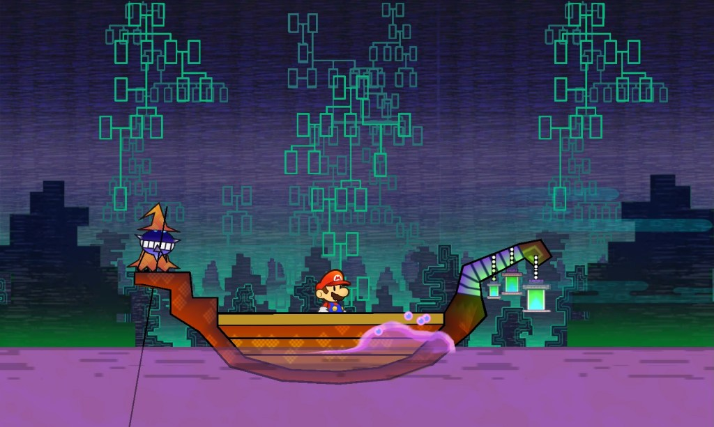 Charold ferrying Mario across the River Twygz in the Underwhere