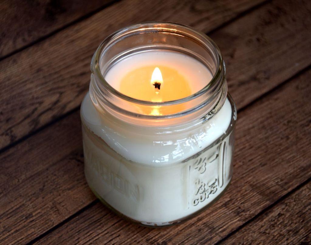 Soy Candle Burning