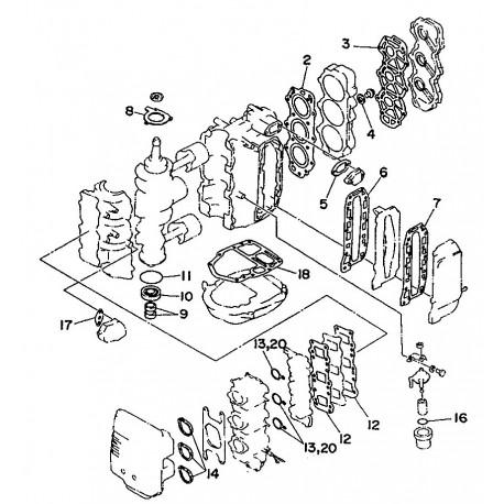yamaha pakkingset voor de 40V en 50H buitenboordmotoren