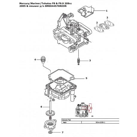 8M0044576 carb repair kit Mercury Mariner Tohatsu