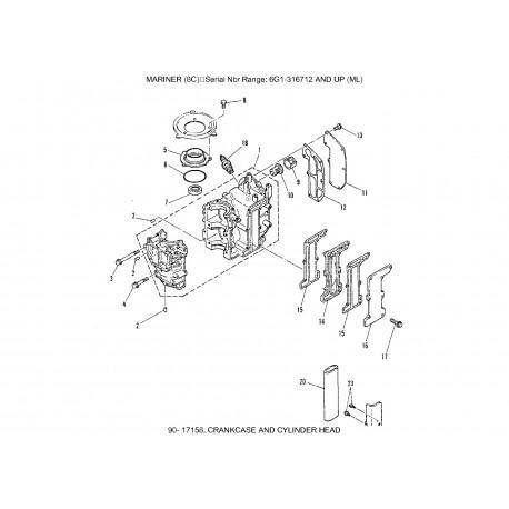 Pakkingset Yamaha 8C en 6C 6G1-W0001-A2-00