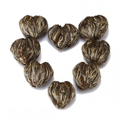 Exotic Tea leaves hearts that bloom when brewed