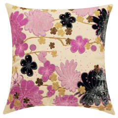embroidered cushion in pink and black flowers for home decor