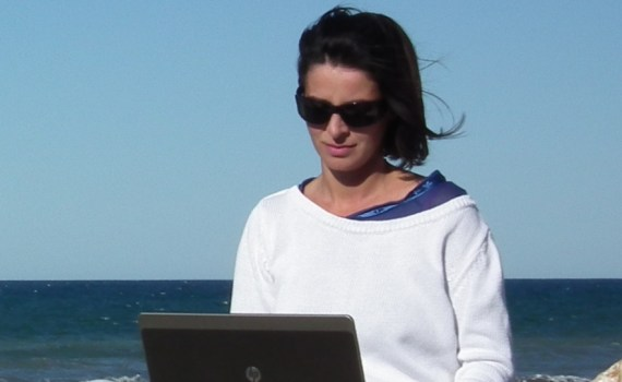 blogger's power. writing reviews at the beach