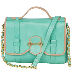 turquoise and gold leather cross body handbag