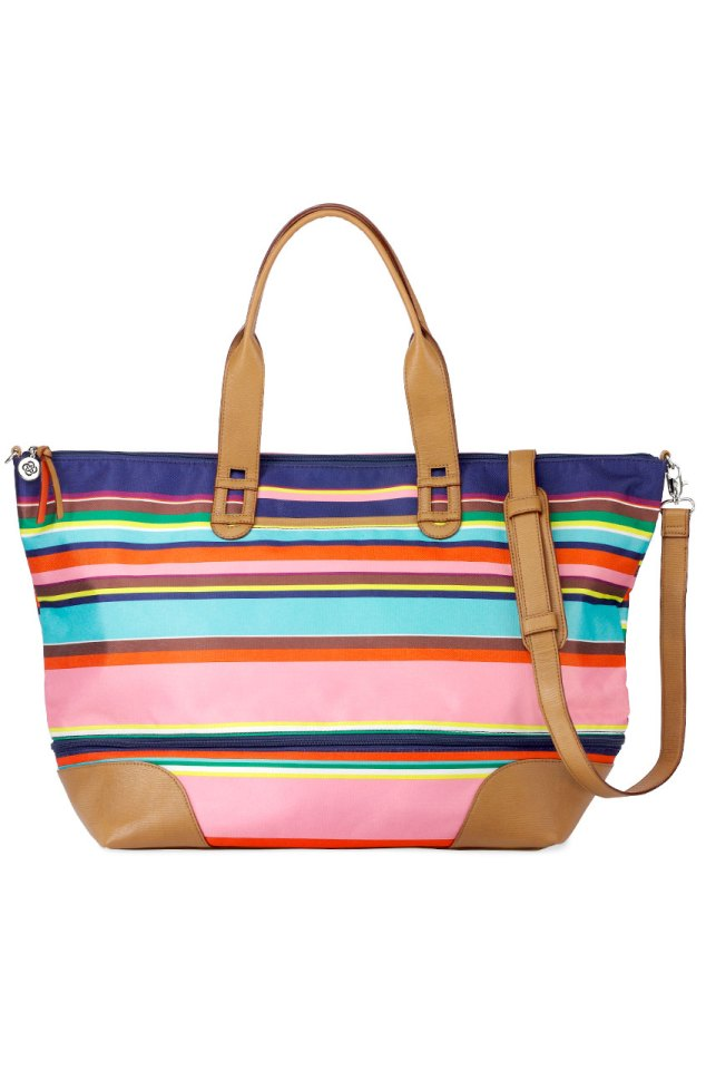 a practical handbag that has multicolored stripes, zips and pockets