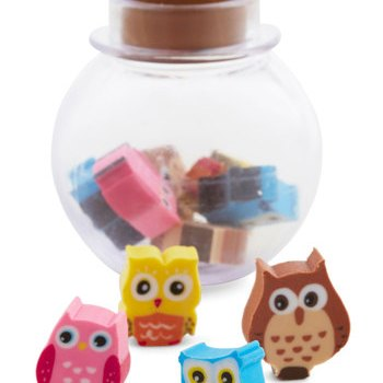 a set of cute colorful owls erasers in a glass jar