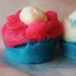 blue, red and white soap cupcake after drying