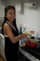 Chie preparing delicious dishes