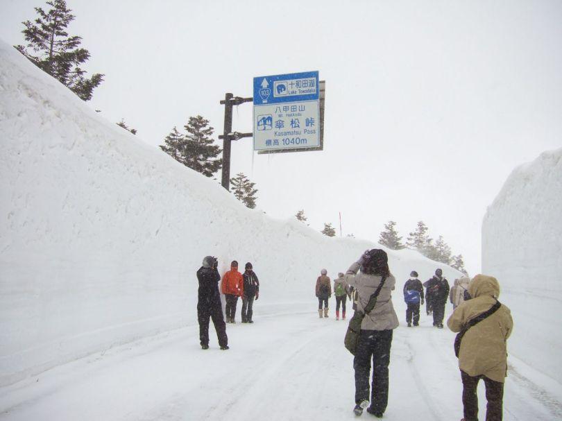 Les visiteurs de la promenade Hakkōda se frayent un chemin à travers un grand couloir de neige déblayée. La Gold Line Hakkōda-Towada est fermée en hiver, mais le tronçon entre Sukayu et Yachi est ouvert pour seulement deux jours à la fin du mois de mars afin de permettre aux visiteurs de voir un aperçu du corridor de neige avant son ouverture au printemps. (© Fédération du tourisme de la préfecture d'Aomori)