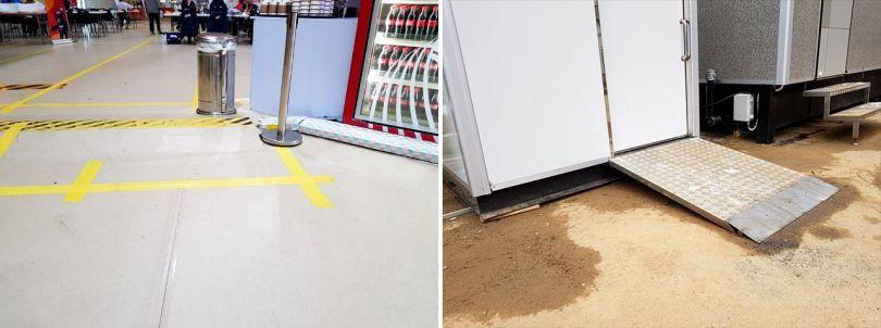 Un câblage traverse le sol dans la salle à manger de l'athlète (à gauche) et des toilettes avec des rampes d'accès, mais aucun endroit pour les utilisateurs de fauteuil roulant ne peut s'arrêter et ouvrir la porte.