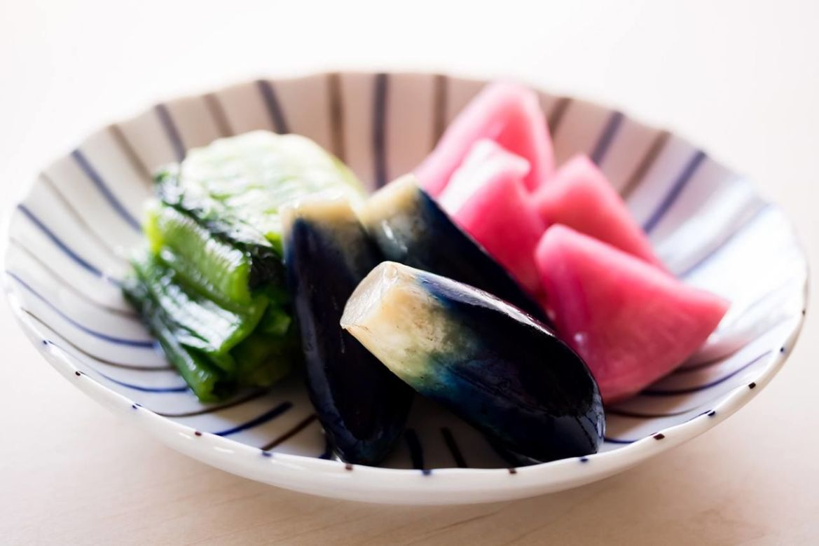 An assortment of Yamagata pickles: From left, Yamagata seisai (mustard greens), eggplant, and red turnip. ©Pixta