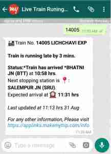 Check Live Train Running Status on Whatsapp Hindi
