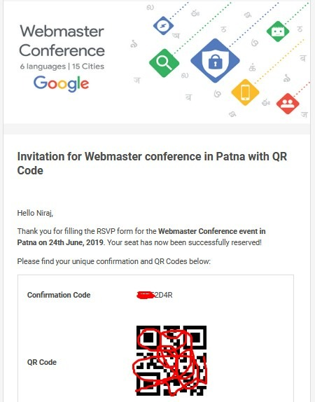 Invitation for Webmaster conference in Patna with QR Code