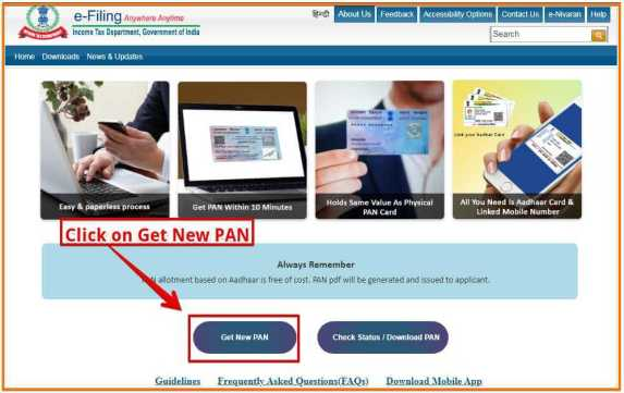 Click on Get New PAN Button