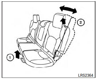 Nissan Rogue Owners Manual: 2nd row bench seat adjustment