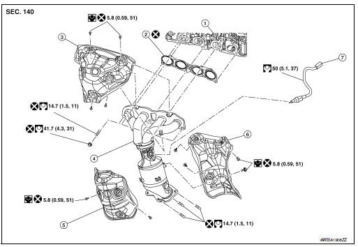 Nissan Rogue Service Manual: Exhaust manifold and three