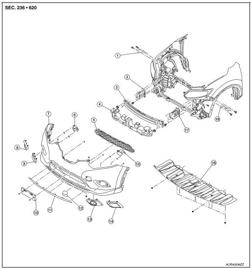 2005 Nissan Pathfinder Front Bumper Parts Diagram. Nissan