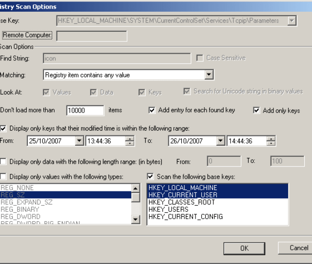Check The Display Only Keys That Their Modified Time Is Within The Following Range Option And Then Select The Modified Date Time Range That You Want To