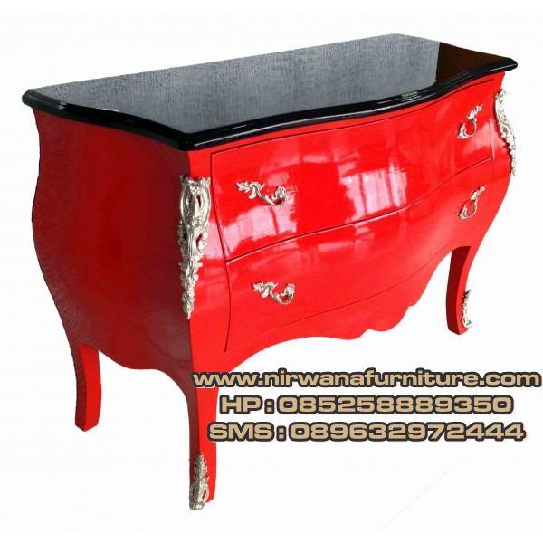 meja nakas antik warna merah