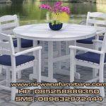 meja makan garden warna putih cat duco