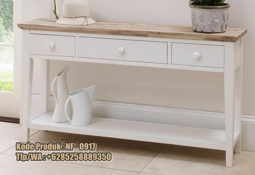 salah satu produk console table dari mebel duco Jepara untuk melengkapi dekorasi dan mempercantik interior rumah anda. Meja Console 2 Laci Model Minimalis Cat Duco sebagai perabot ruang tamu mewah dan berfungsi sebagai hiasan untuk benda-benda kecil, lampu hias ataupun foto-foto keluarga anda.