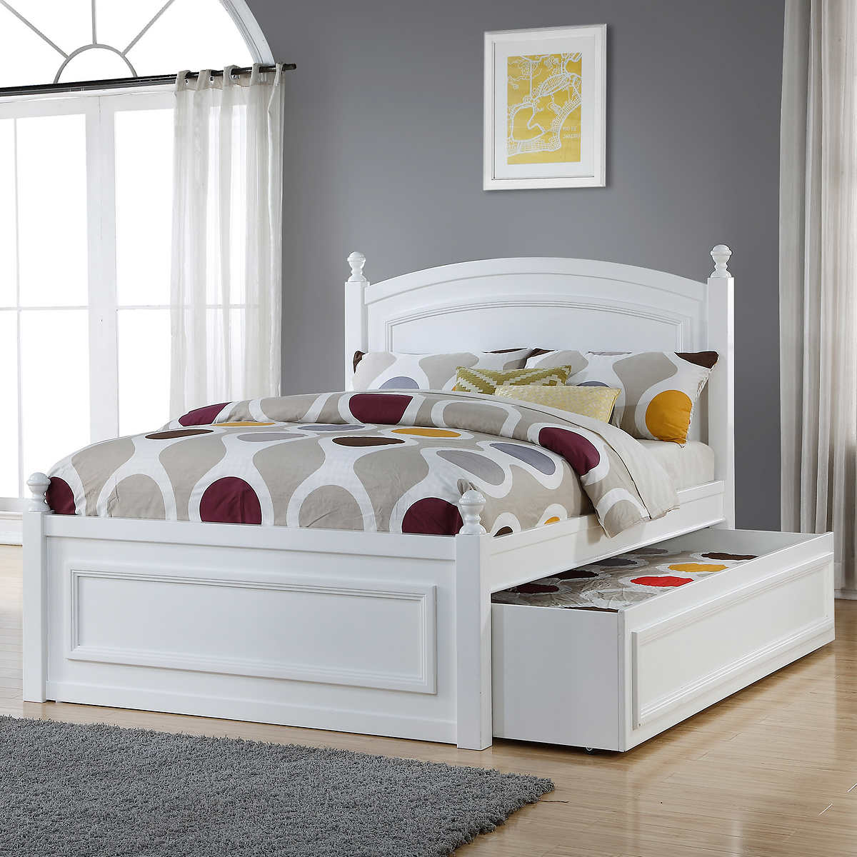 tempat tidur anak minimalis putih bahan full kayu